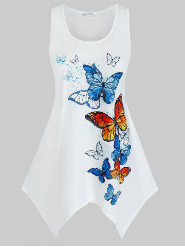 Plus Size Butterfly Print Handkerchief Tunic Tank Top - WHITE - 3X