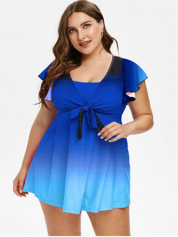 Plus Size Butterfly Sleeve Bowknot Ombre Two Piece Swimsuit