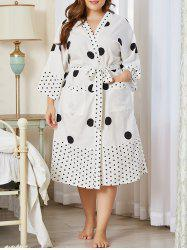 Plus Size Polka Dot Belted Pocket Wrap PJ Robe -