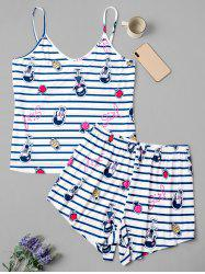 Plus Size Striped Fruit Girl Print Short Pajama Set -