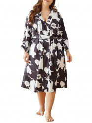 Plus Size Printed Side Pocket Robe -