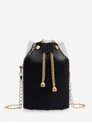 Transparent Panel Chain Drawstring Bucket Bag -