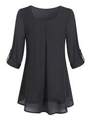 Plus Size Lined Roll Up Sleeve Blouse -