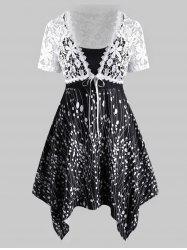Lace Tie Front Top And Plus Size Printed Handkerchief Dress Set -