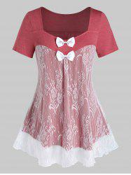 Plus Size Lace Panel Bowknot See Thru Short Sleeve Tee -