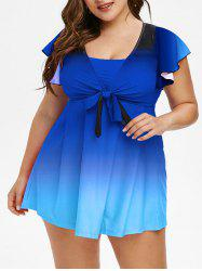 Plus Size Butterfly Sleeve Bowknot Ombre Two Piece Swimsuit -