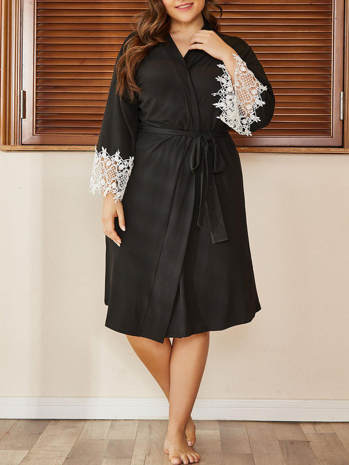 Outfit Plus Size Guipure Insert Belted Longline Pajama Robe