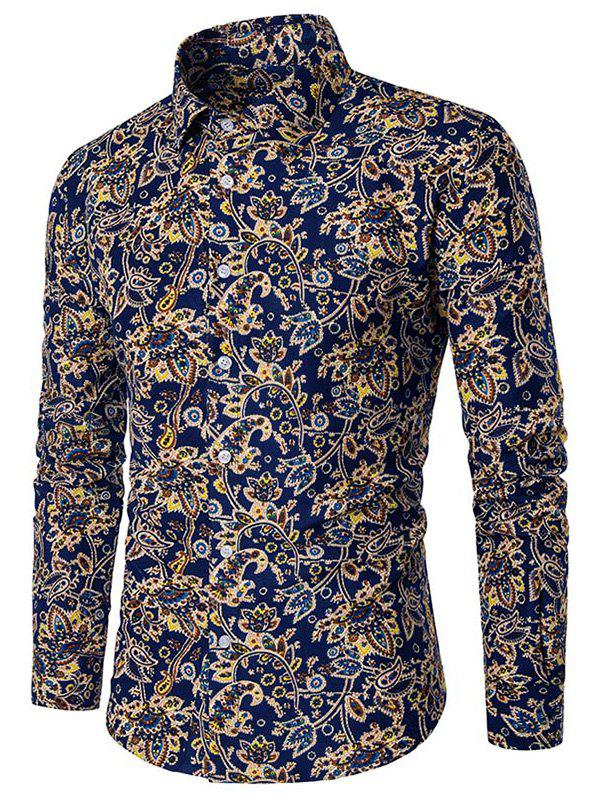 Affordable Paisley Flower Print Button Down Shirt
