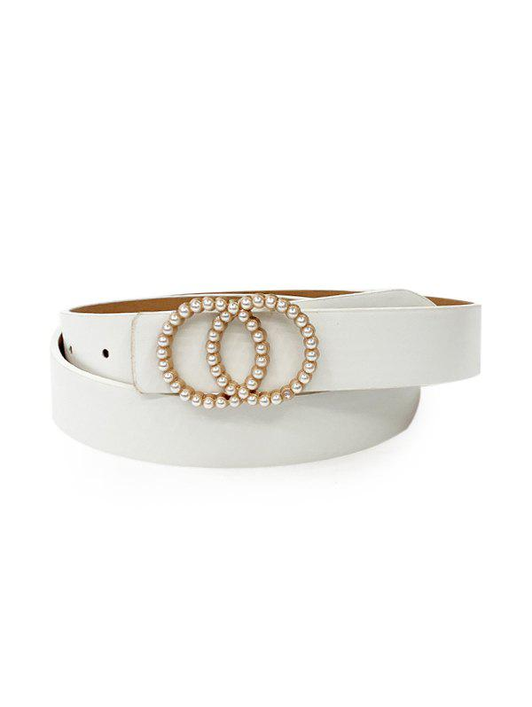 Hot Double Circle Buckle Faux Pearl Belt