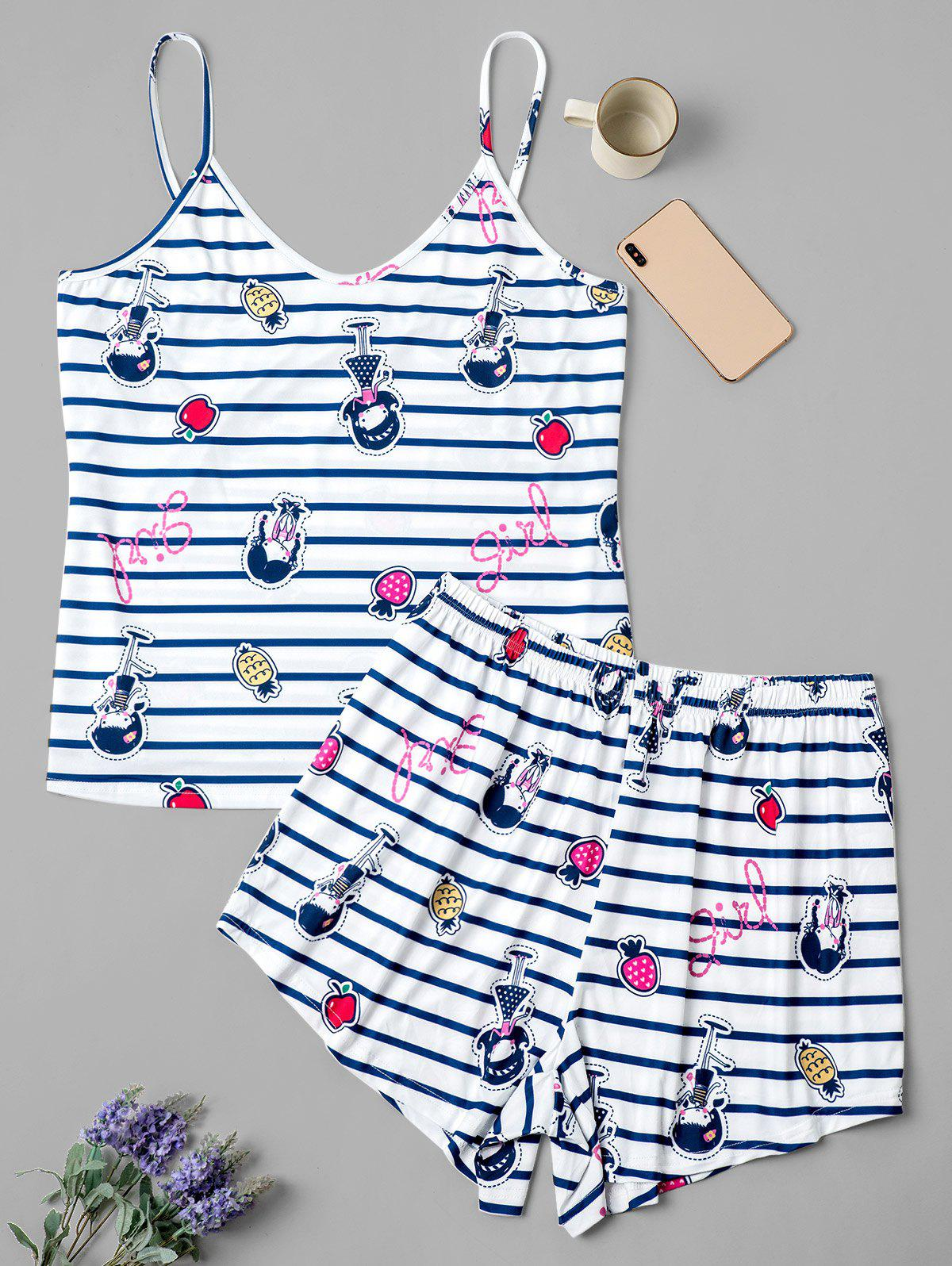 Shop Plus Size Striped Fruit Girl Print Short Pajama Set