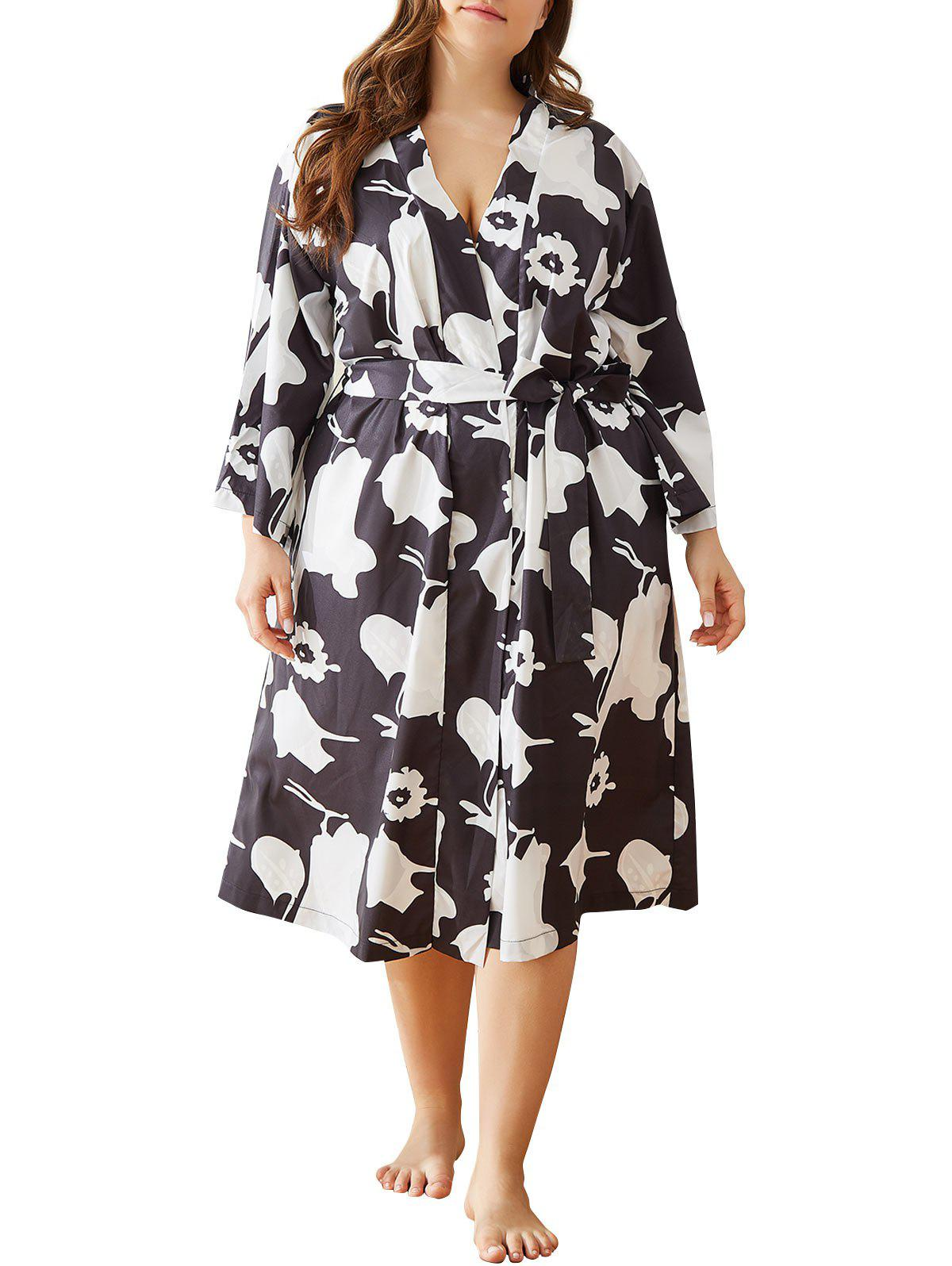 Fancy Plus Size Printed Side Pocket Robe