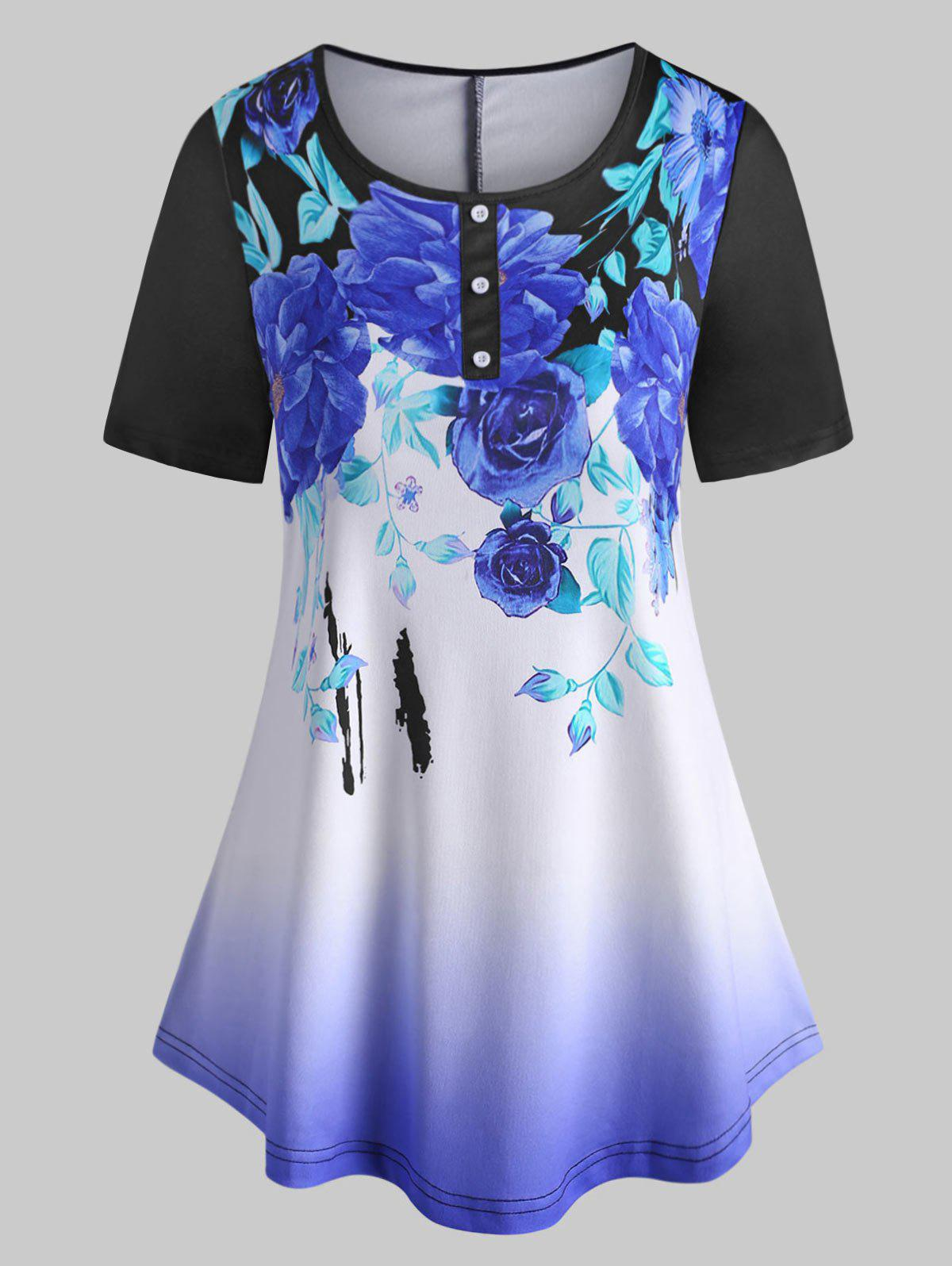 Curved Hem Mock Buttons Floral Plus Size Tee фото