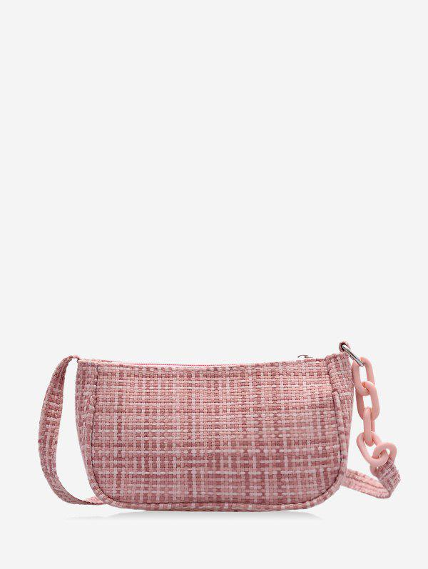 Sac à Bandoulière Rectangle à Carreaux Imprimé Rose clair