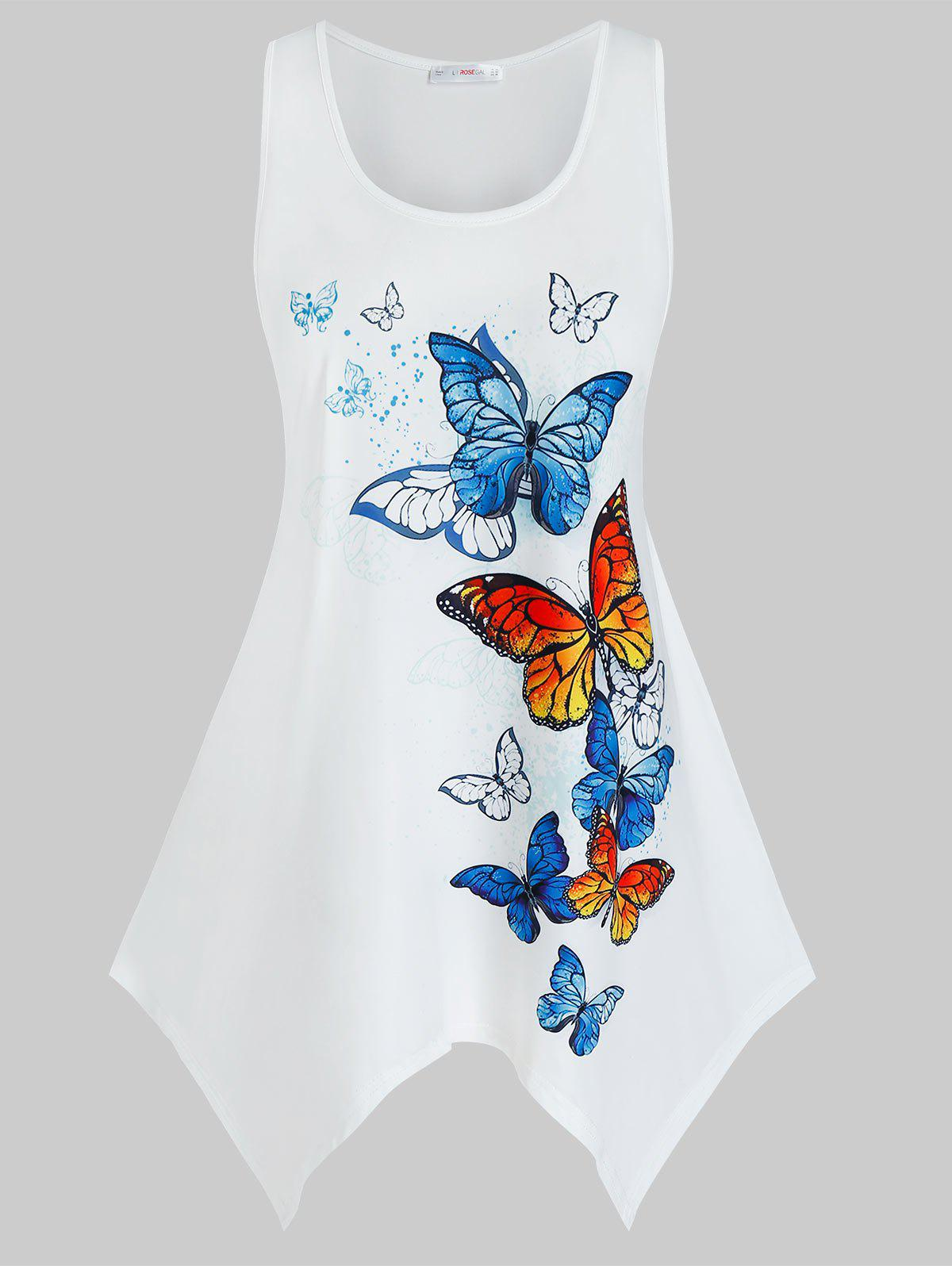 Latest Plus Size Butterfly Print Handkerchief Tunic Tank Top