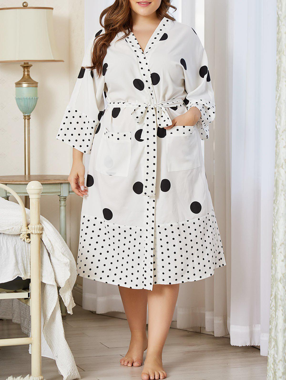 Fashion Plus Size Polka Dot Belted Pocket Wrap PJ Robe