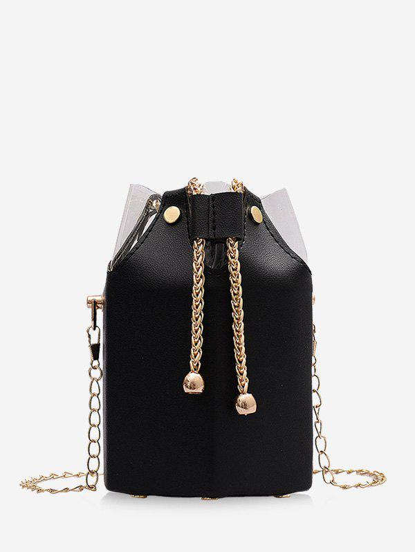 Latest Transparent Panel Chain Drawstring Bucket Bag