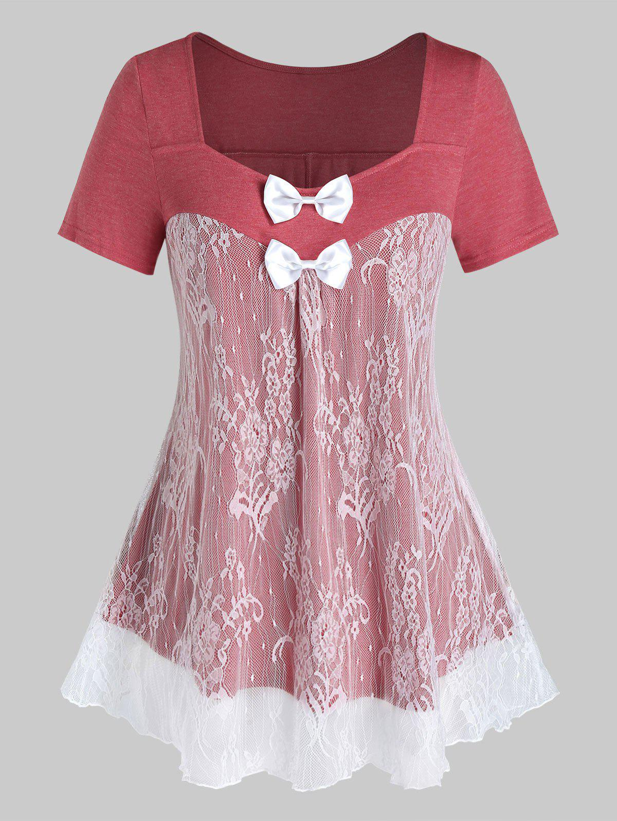 Hot Plus Size Lace Panel Bowknot See Thru Short Sleeve Tee