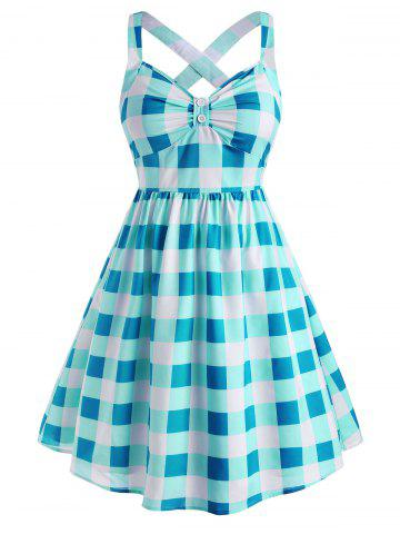 Plus Size Vintage Plaid Crisscross Pin Up Dress - BLUE - L