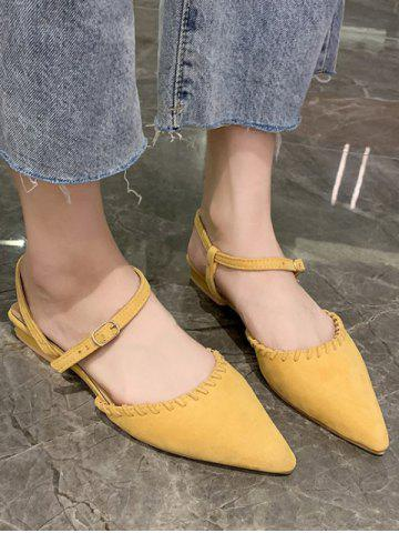 Solid Pointed Toe Suede Flat Sandals - SUN YELLOW - EU 39