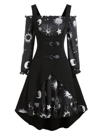Sun Moon Star Print Mini Dress and Buckle High Low Vest