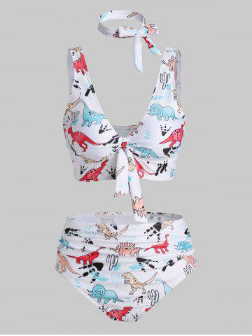 Cartoon Dinosaur Print Padded Knotted Bikini Set - WHITE - 3XL
