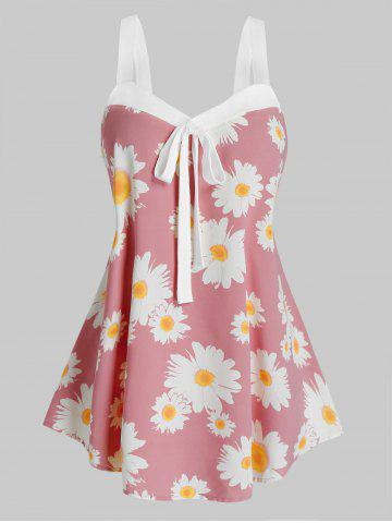 Plus Size Daisy Flower Knotted Sweetheart Neck Tank Top - PINK ROSE - 2X