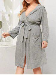 Plus Size Hooded Marled Front Pocket Robe -
