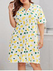 Plus Size Lemon Print Front Pocket Night Dress -