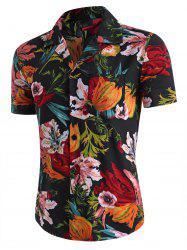 Flower Print Pocket Beach Shirt -