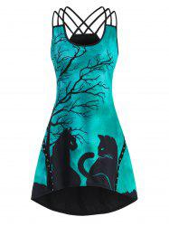 Tree Cat Print Crisscross Grommet Dip Hem Dress -