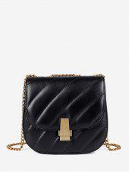 Chain Cover Quilted Crossbody Saddle Bag -