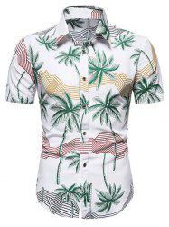 Hawaiian Palm Tree Stripes Print Short Sleeves Shirt -