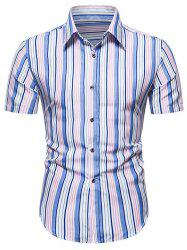 Short Sleeve Striped Button Up Shirt -