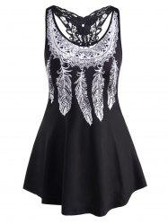 Racerback Lace Panel Feather Print Plus Size Tank Top -