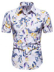 Short Sleeve Floral Print Button Up Shirt -