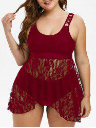 Plus Size Lace Overlay Skirted Tankini Set -