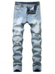 Destroyed Light Wash Tapered Casual Jeans -