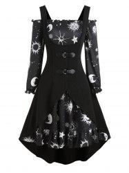 Sun Moon Star Print Mini Dress and Buckle High Low Vest -