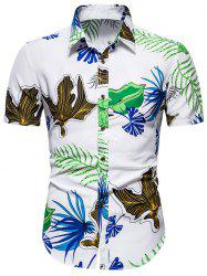 Tropical Leaf Print Beach Button Down Shirt -