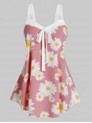 Plus Size Daisy Flower Knotted Sweetheart Neck Tank Top -