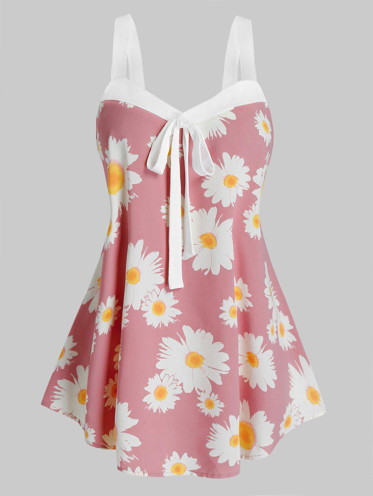 Outfit Plus Size Daisy Flower Knotted Sweetheart Neck Tank Top