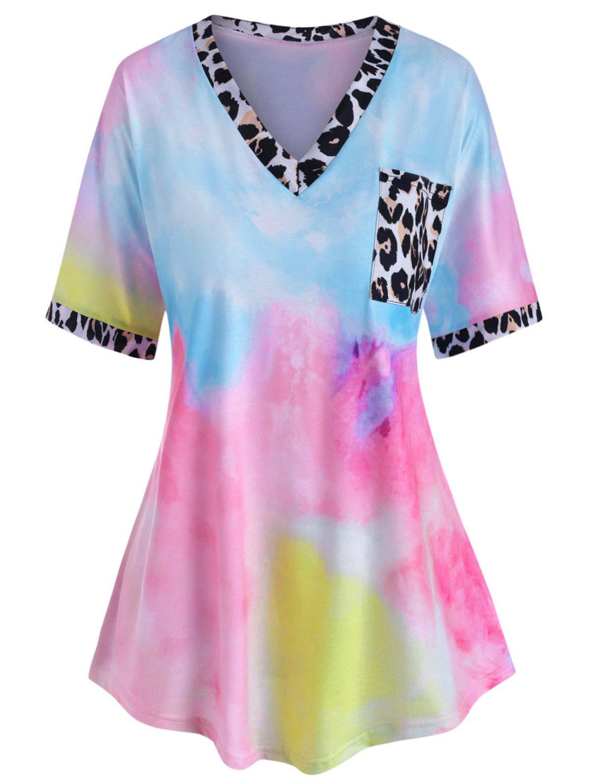 Affordable Leopard Panel Front Pocket Tie Dye Plus Size Tee