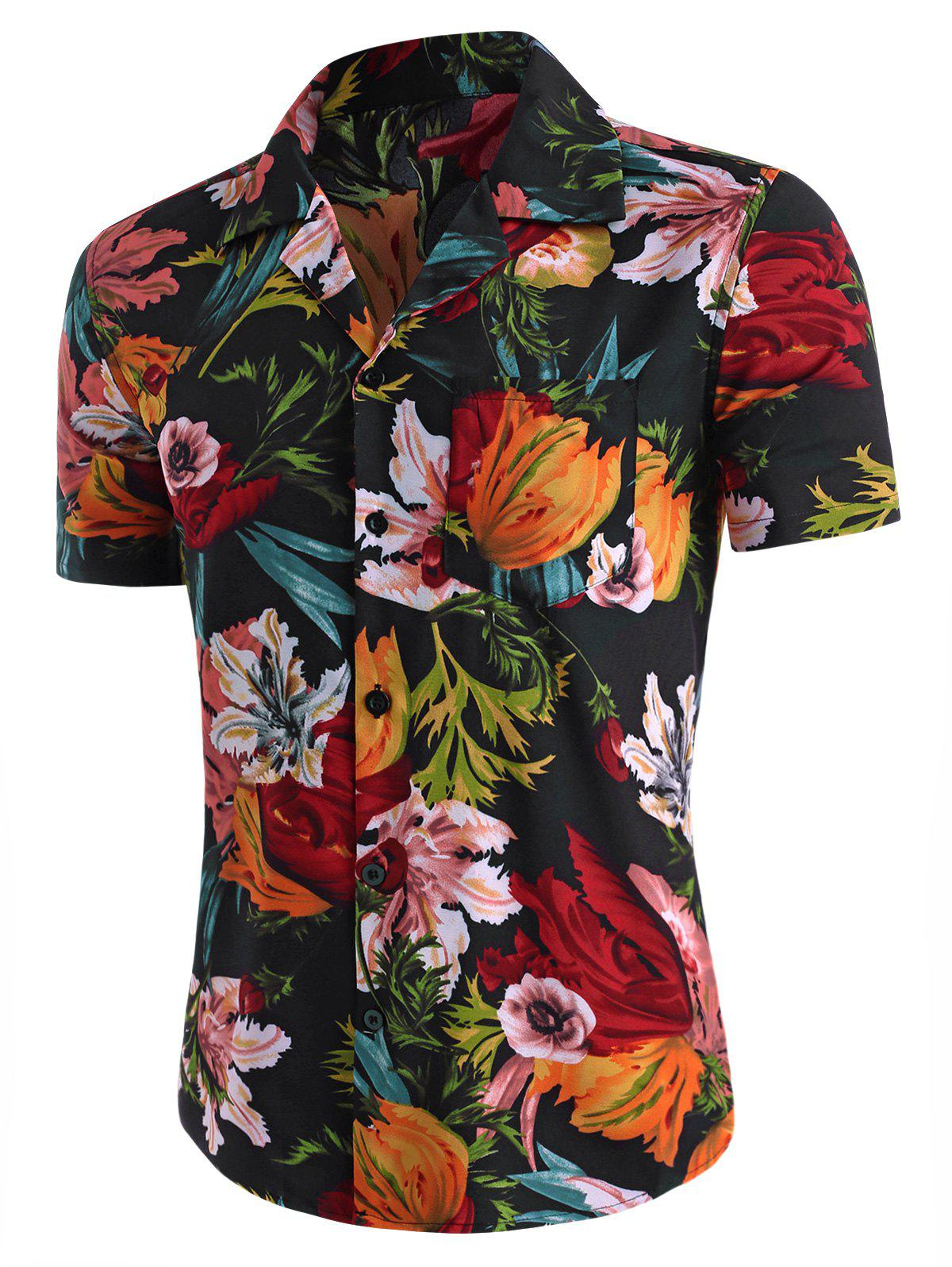 Online Flower Print Pocket Beach Shirt