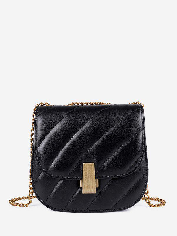Trendy Chain Cover Quilted Crossbody Saddle Bag