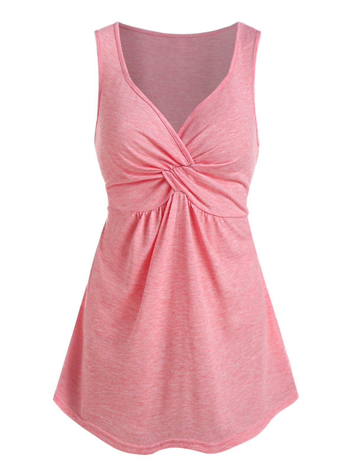 Online Plain Front Twist Curved Tank Top