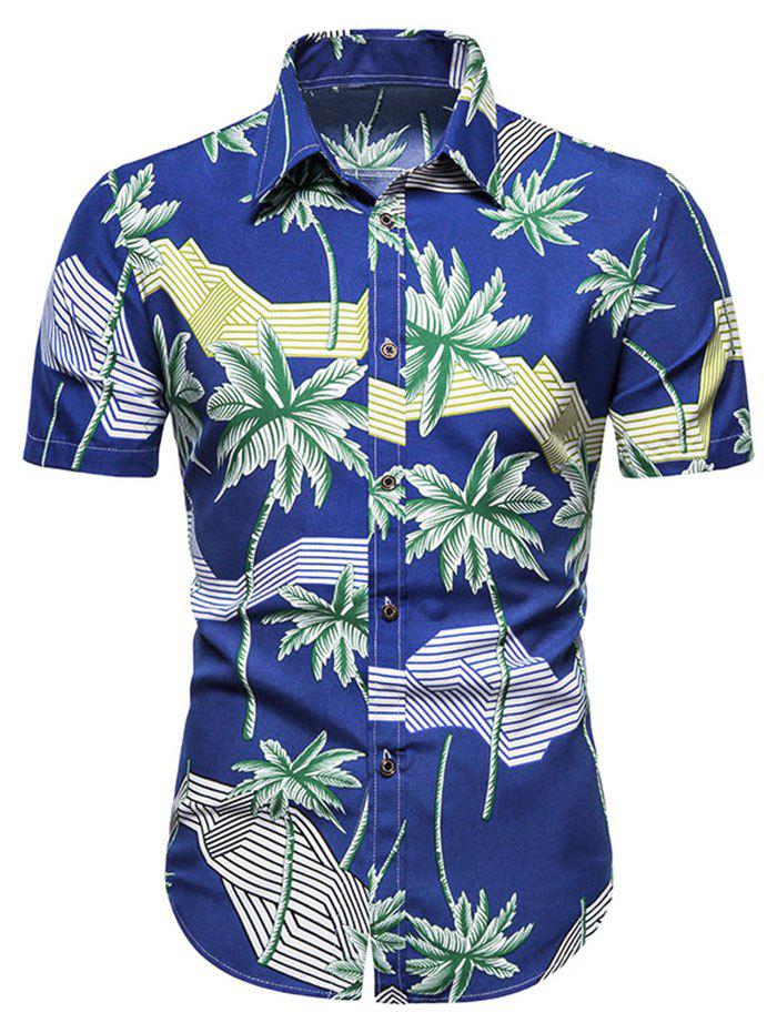 Cheap Hawaiian Palm Tree Stripes Print Short Sleeves Shirt