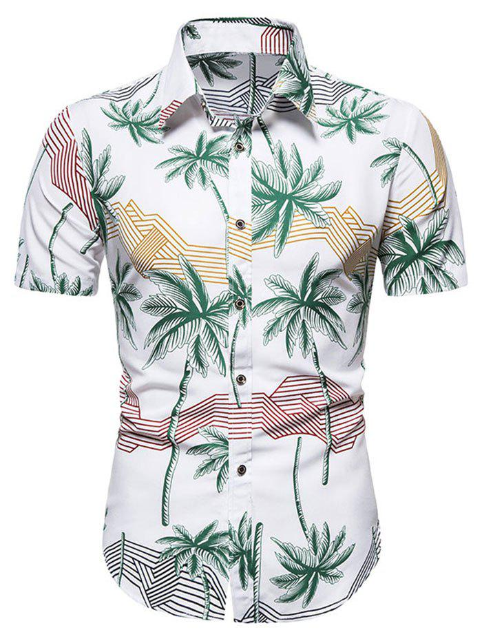 Fashion Hawaiian Palm Tree Stripes Print Short Sleeves Shirt