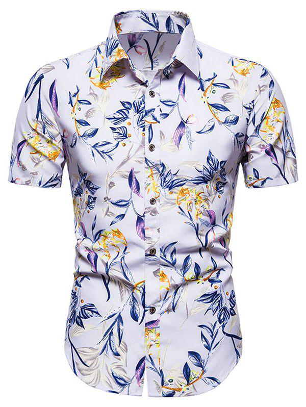 Outfits Short Sleeve Floral Print Button Up Shirt