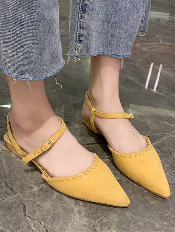 Unique Solid Pointed Toe Suede Flat Sandals