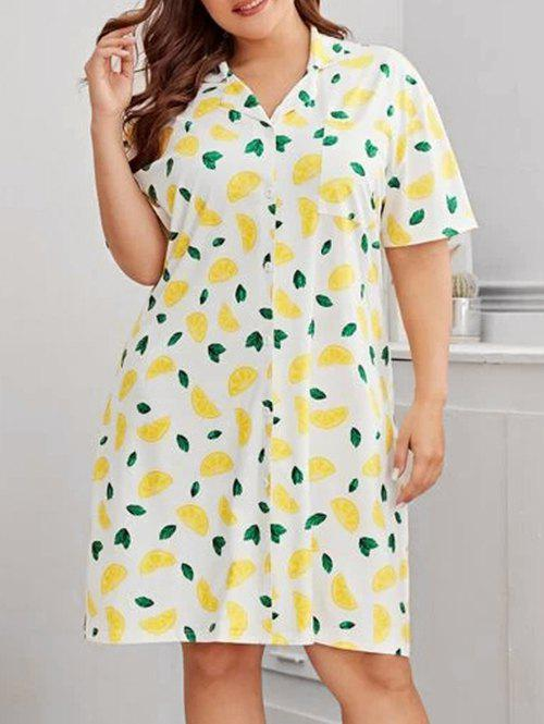 Cheap Plus Size Lemon Print Front Pocket Night Dress